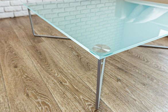 glass top table with stainless steel legs