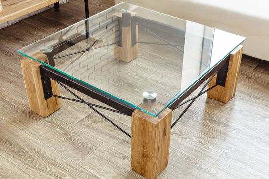 glass top of a coffee table